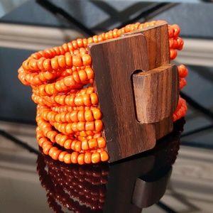 Orange Glass Beads n Wooden Clasp Bracelet